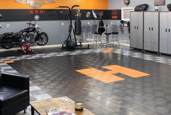 harley-themed-garage-floor